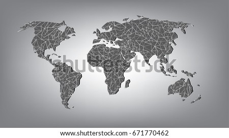 World map line grey background stock vector 671770462 shutterstock world map in lineon grey background gumiabroncs Image collections