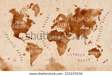 World map in old style in vector format, brown graphics in a retro style - stock vector