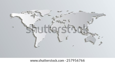 World Map in Patterson Projection. The Patterson projection is a good alternative to other projections like Mercator because it has less distortion towards the poles.  - stock vector