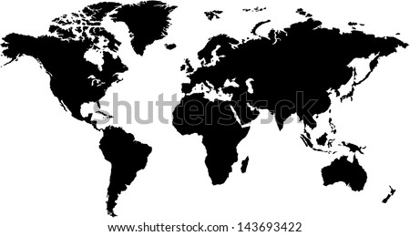 world map in silhouette - stock vector