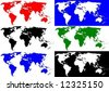 world map in six versions - stock vector