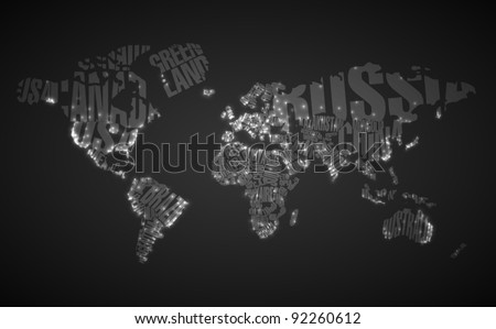 World map typography city lights stock vector 92260612 shutterstock world map in typography with city lights gumiabroncs Choice Image