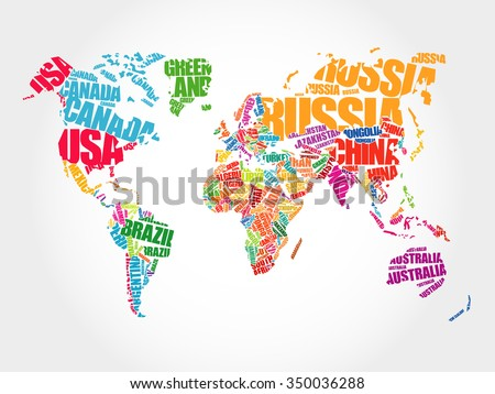 World map typography word cloud concept vector de stock350036288 world map in typography word cloud concept names of countries gumiabroncs Image collections