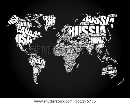 World map typography word cloud concept stock vector hd royalty world map in typography word cloud concept names of countries gumiabroncs Image collections