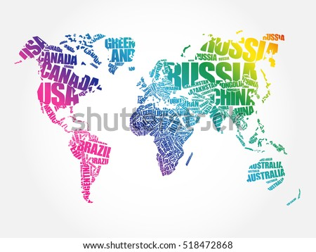 World map typography word cloud concept vector de stock518472868 world map in typography word cloud concept names of countries gumiabroncs Image collections