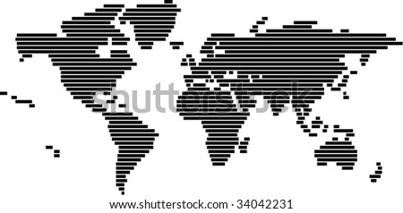 World map in vector format - black and white - stock vector