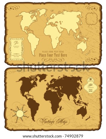 World map in vintage style - stock vector