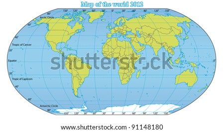 World Map 2012 including new states like South Sudan and Kosovo. Fully and easy editable vector map, data are in layers. - stock vector