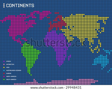 world map indicating the continents - stock vector