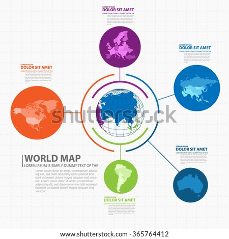 world map infographic - stock vector