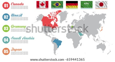 World Map Infographic Slide Presentation Canada Stock Vector