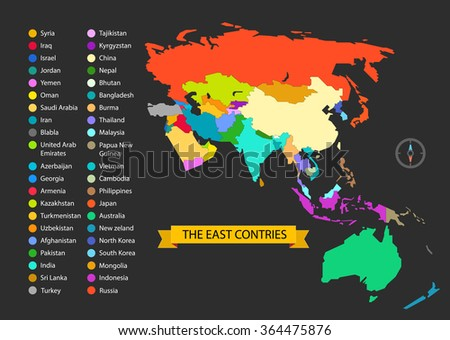 World map infographic template. The East countries illustration - stock vector