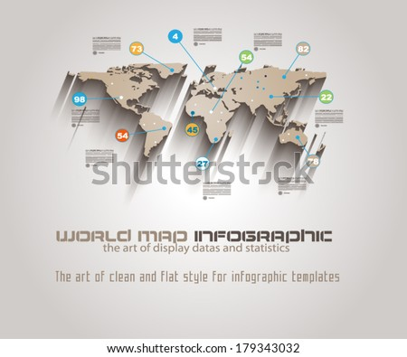 World Map Infographic Template to display your global data. - stock vector