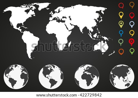 World  map infographic template with different markers and four globe icons from different sides - stock vector