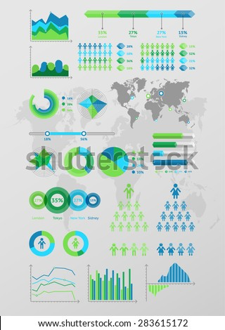 World map infographic. Vector illustration