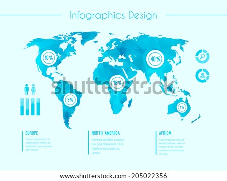 World map infographic vector template showing the demographic areas Europe  North America  Africa with proportionate percentages of statistics and text columns in blue - stock vector