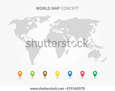 World map infographic colorful pointers vector vectores en stock world map infographic with colorful pointers vector illustration modern world map with pins graphic design gumiabroncs Gallery