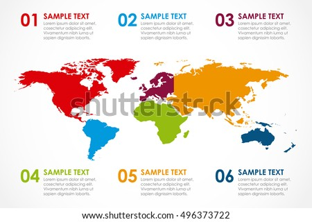 World map infographic 6 continent colors stock vector 496373722 world map infographic with 6 continent in colors and options vector illustration gumiabroncs Gallery