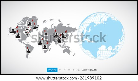 World map infographic with Globe icons - stock vector