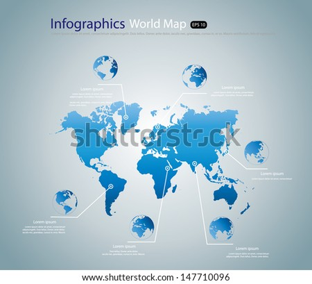 World map infographic with Globe , Vector illustration - stock vector