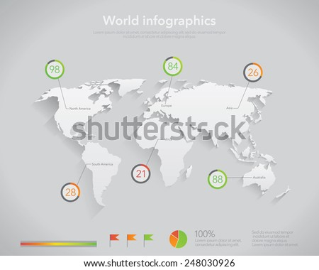 World map infographics template vector  - stock vector