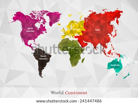 World map is classified by continent in different color and lay over with polygonal pattern. (EPS10 art vector separate part by part) - stock vector