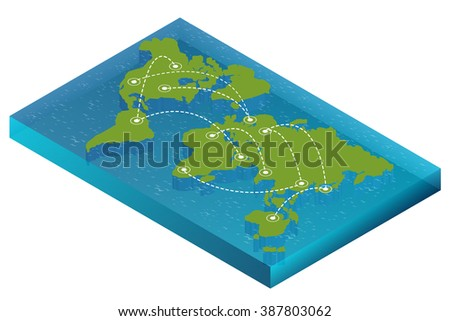 World map isometric, World map blank, World map vector, World map flat, World map template, World map object, World map icon, World map infographic, World map clean, World map art, World map card - stock vector
