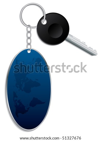 World map keyholder with key - stock vector