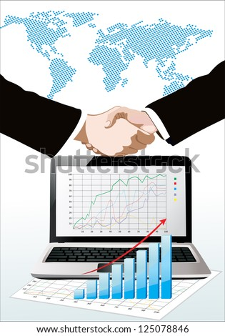 World map, laptop showing a  spreadsheet  with some 3d charts over it and handshake - stock vector