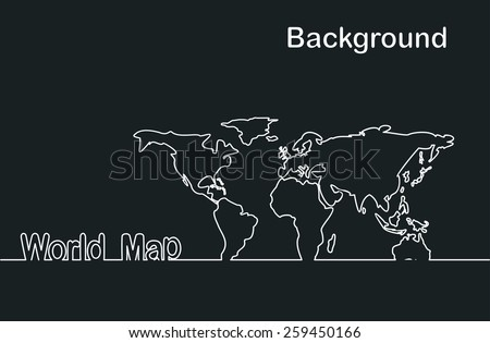 World map line - stock vector