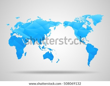 World Map. Low Poly Design. Blue Origami Planet. Vector Illustration