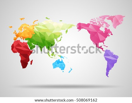 World map low poly design origami vector de stock508069162 shutterstock world map low poly design origami planet vector illustration gumiabroncs Image collections