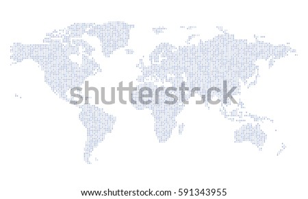World map made binary data code stock vector 591343955 shutterstock world map made from binary data code gumiabroncs Image collections