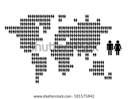 World map made from people icons for your design - stock vector