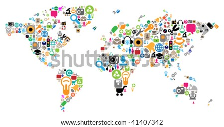 World map made of internet and computer icons. Vector illustration concept. - stock vector