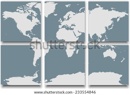 World map made of tiles casting shadow - stock vector