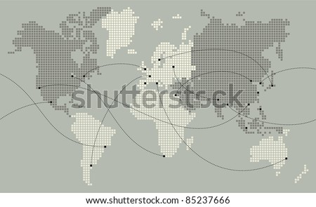 World map made out of small squares. Main cities are marked and connected with lines - stock vector