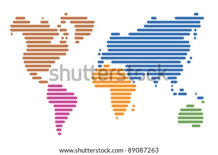 World map made up of horizontal lines - stock vector