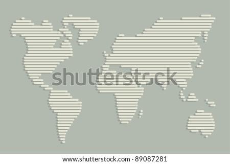Horizontal Line Art : World map made horizontal lines stock photo vector