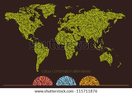 World map made with leafs - stock vector