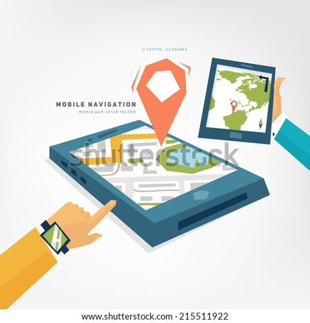 World Map. Mobile Phone with GPS Navigation App. Tablet PC. Mobile Technologies Concept. - stock vector