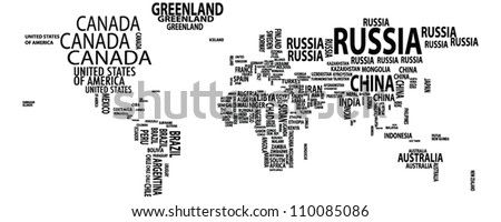 World map/nations/countries/continents vector - stock vector