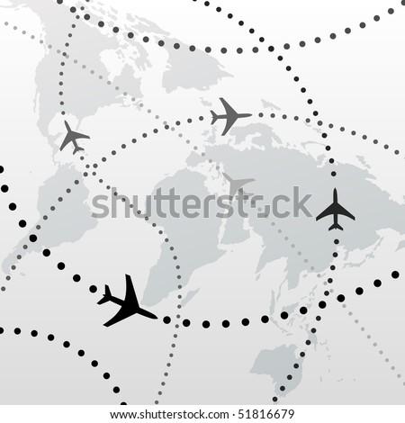 Flight Path Map Stock Royalty Free & Vectors