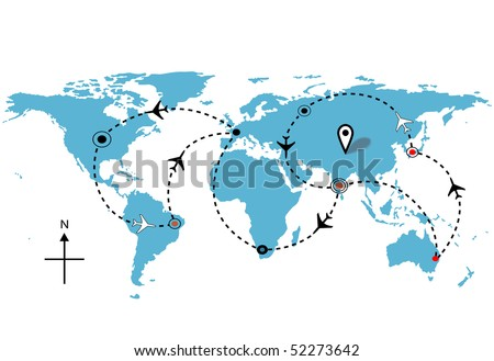 World map of airline airplane flight path travel plans. - stock vector