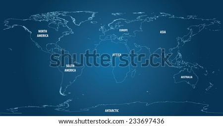 World Map of Continents With Outline Light Color - stock vector