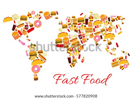 World map fast food snacks vector vectores en stock 577820908 world map of fast food snacks vector cheeseburger and pizza french fries and hot gumiabroncs Gallery