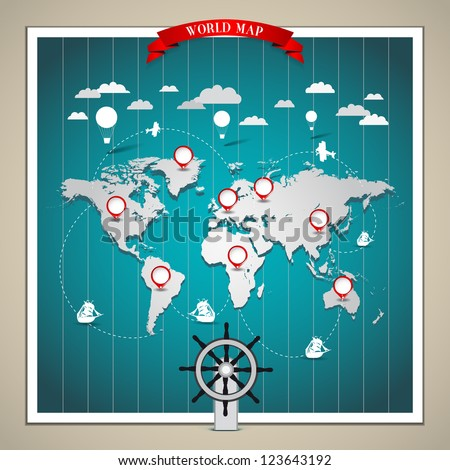 World Map of transportation - vintage illustration - stock vector