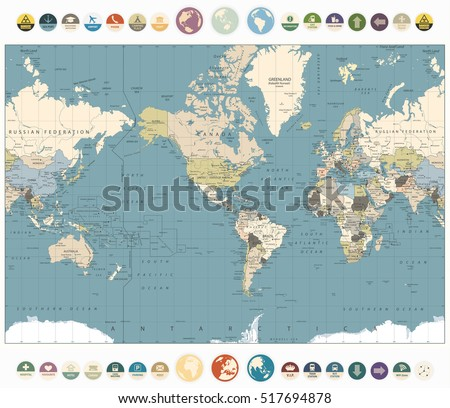 World map old colors illustration round stock vector 517694878 world map old colors illustration with round flat icons and globeserica centered world map gumiabroncs Choice Image
