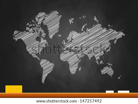 World map on blackboard  - stock vector