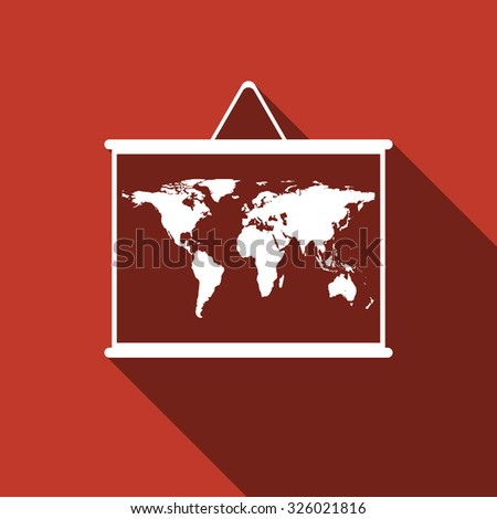World map on blackboard flat icon with long shadow. Vector Illustration - stock vector